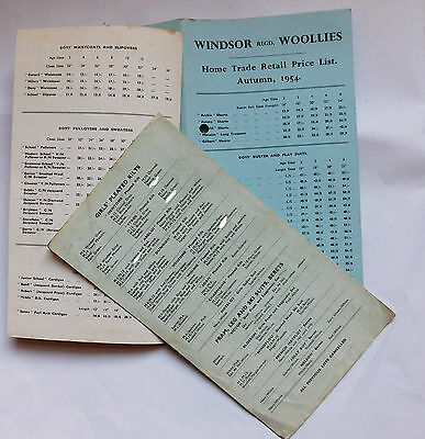Vintage 1950s catalogue price lists Windsor Woollies 1954 childrens clothing a
