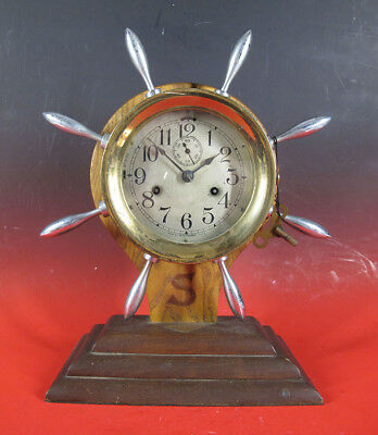 Antique WWI WWII Seth Thomas Maritime Captains Wheel Ship Bell Clock Works! yqz
