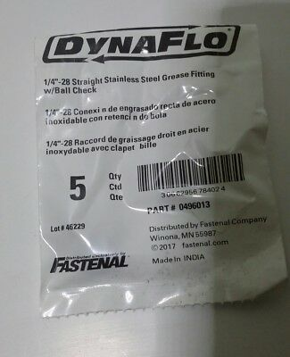 """DYNAFLOW 1/4""""-28 Straight Stainless Steel Grease Fitting w/Ball C 5 pcs 0496013"""