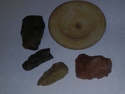 Authentic Native American Artifacts Paint Bowl Blades Points