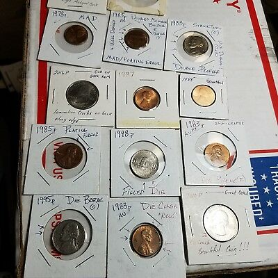 Error us coins pennys die mixed lot of error coins