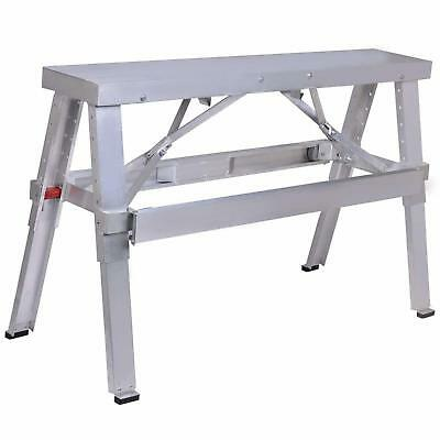 "Aluminum Drywall Walk-Up Folding Bench Heavy Duty Workbench Adjustable 18""-30"""