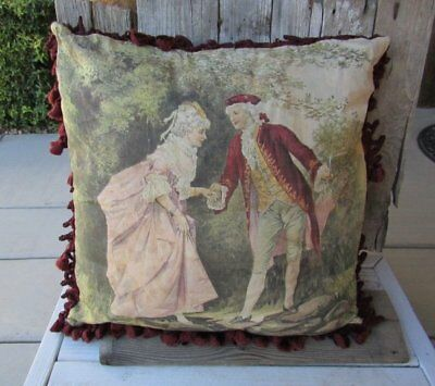 Antique Chromo Lithograph Victorian French Couple Silk Fringe Pillow