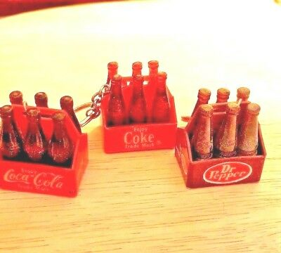 Vintage Coca Cola,  And Dr. Pepper Bottle Carton Key Chains (Lot Of 3)
