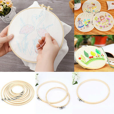 Wooden Cross Stitch Machine Embroidery Hoop Ring Bamboo Sewing 13-40cm