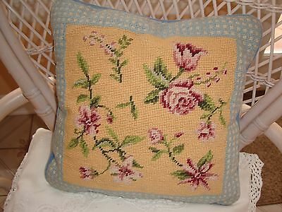 """Vintage Hand Embroidered Wool & Velvet 13"""" Square Floral Throw Pillow Cushion"""