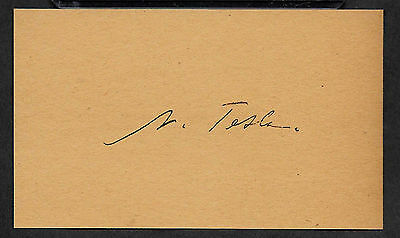 Nikola Tesla Autograph Reprint On Genuine Original Period 1880s 3X5 Card