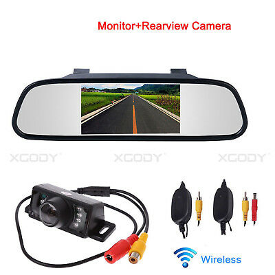 "Car Wireless Reversing Backup IR Camera + 4.3"" LCD Mirror Monitor Auto Rear View"