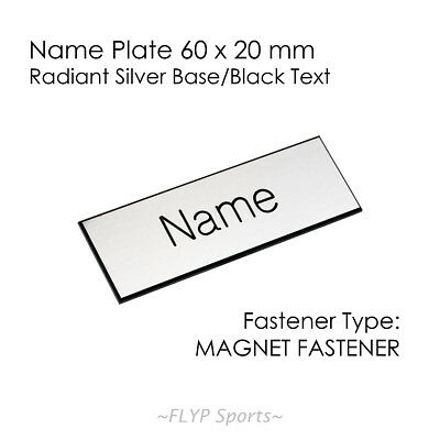 Name Badge Tag Plate Silver/Black Magnet 6x2cm Personalised Engraved Customis...