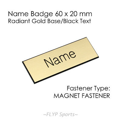 Name Badge Tag Plate Gold/Black Magnet 6x2cm Personalised Engraved Customised...