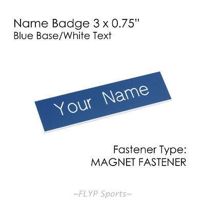 """Name Badge Tag Plate Blue/White Magnet 3x0.75"""" Personalised Engraved Employee..."""