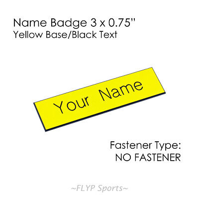 """Name Plate Yellow/Black NO FASTENER 3x0.75"""" Label Sign Tag Plaque Badge Engraved"""