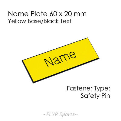 Name Badge Tag Plate Yellow/Black Safety Pin 6x2cm Personalised Engraved Empl...
