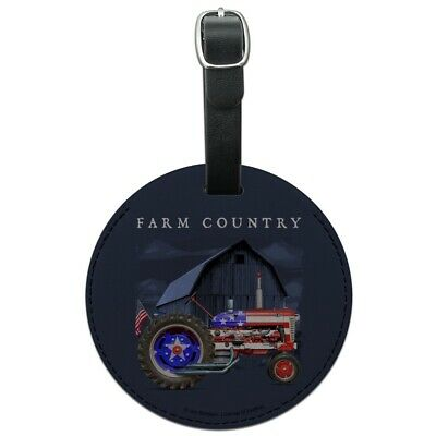 Farm Tractor Country USA American Flag Round Leather Luggage Card ID Tag