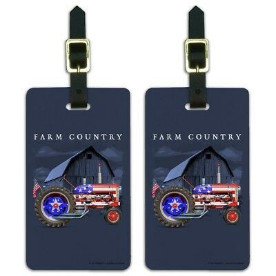 Farm Tractor Country USA American Flag Luggage ID Tags Cards Set of 2