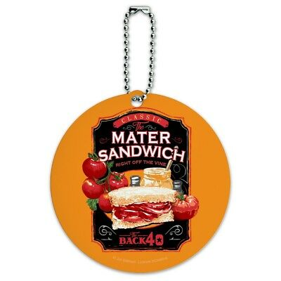 Back 40 Classic Tomato Mater Sandwich Round Luggage ID Tag