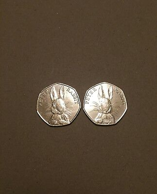 Peter Rabbit 50p Coin 2016 X2 - Rare Fifty Pence Beatrix Potter Set