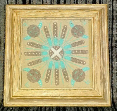 """Native NAVAJO SAND PAINTING """"Four Suns""""  Signed BY Harold Begay 5.5"""" X 5.5"""""""