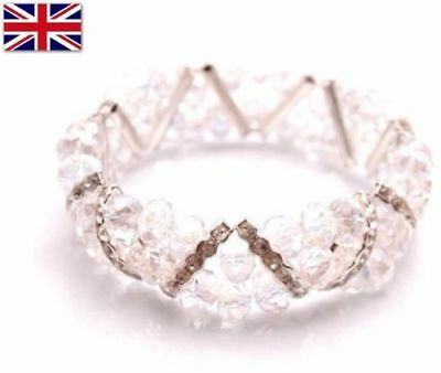 Diamante Crystal Stretch Elastic 3 Row Bracelet Band Silver Clear Glass Beads
