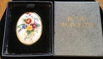 Vintage Royal Worcester Porcelain Painted Floral Gold Tone Pin Brooch In Box