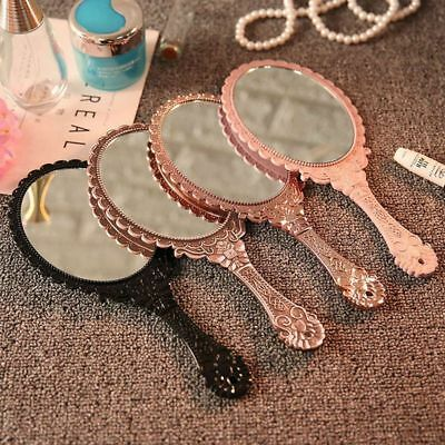 Ladies Floral Repousse Vintage Mirror Oval Hand Held Makeup Beauty Dresser New