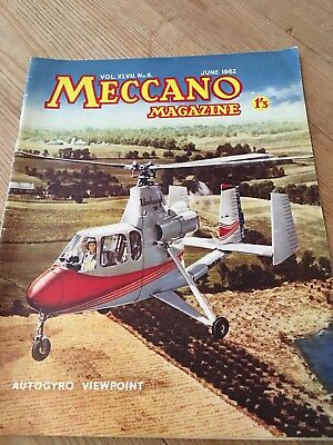 Meccano Magazine June 1962 - Autogyro   Cover -Colour Dinky Toy Ads