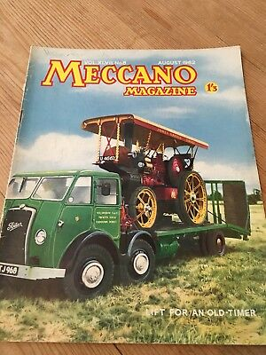 Meccano Magazine August 1962 - Traction Engine Cover -Colour Dinky Toy Ads
