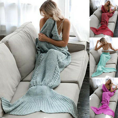 Mermaid Tail Sofa Blanket Crocheted Knitting Super Soft for Kids Adults AU Stock