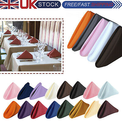 """20"""" x 20"""" Cotton Polyester Colourful Plain Napkins Banquet Wedding Dinner Party"""