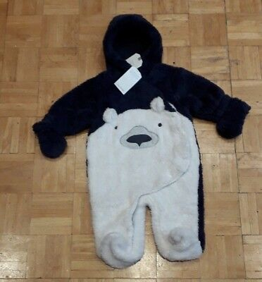 BNWT Baby Boys blue soft velour Teddy Bear sleepsuit  clothes  in  6-9 months