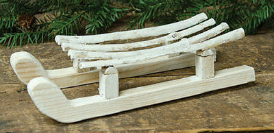 """Primitive Christmas WHITEWASHED SLED Country Farmhouse Wood Winter Display 12"""""""