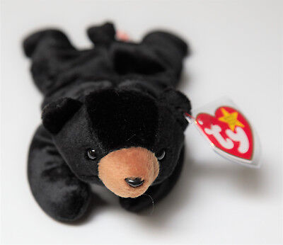 Ty Beanie Baby Blackie Bear - Internet Exclusive  Excellent - Free Shipping