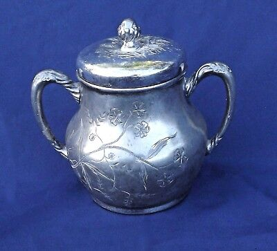 Pairpoint, Signed Quadruple Plate Sugar Bowl with Lid