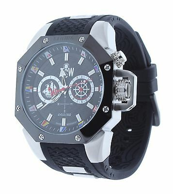 Technosport TS-100-SAIL3 Mens Watch Silver-Tone/Black Sailing Swiss Movement