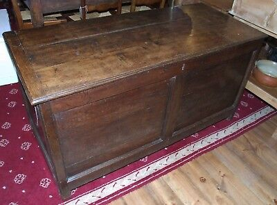Antique rustic oak panel COFFER blanket box 4 1/2ft early Victorian mule chest
