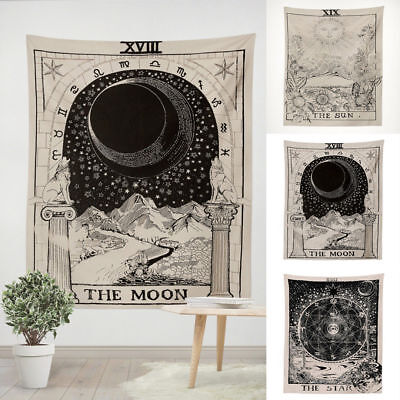 Tapestry Wall Hanging Moon Sun Tarot Tapestries Indian augury Tapestry Exotic (