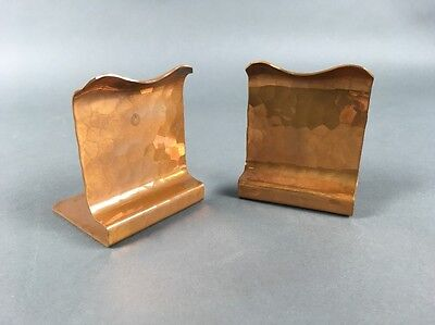 Antique Arts & Crafts AVON Coppersmith Solid Hammered Copper Bookends