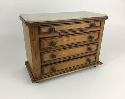 Antique 19th c. Pine & Marble Top Miniature French Chest