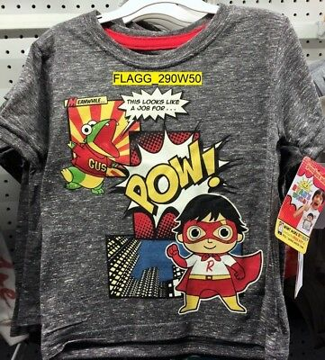 Ryan's World Boy's Graphic Novelty Tee Shirt Charcoal Size 4T Red Titan Gus