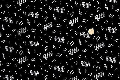 Music Notes on Black fabric 46 x 112cm Nutex 89720-102 100% Cotton