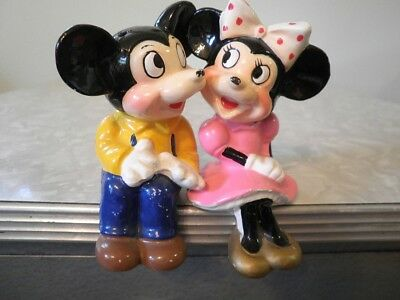 1960s Micky Mouse & Minnie Mouse Shelf Sitters Salt & Pepper Shakers Good Color