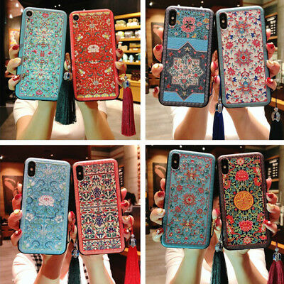 For iphone XR XS MAX Fashion Palace Vintage  Case Cute flowers thin tpu cover