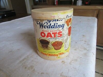 """Vintage Crystal Wedding Quick Oats Can 5"""" Tall 6"""" dia Only 1 On Ebay Lot 18-70-0"""