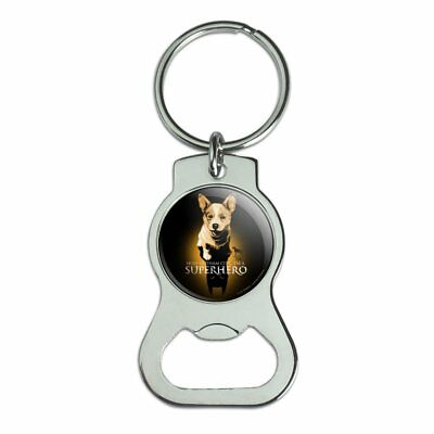 Superhero Dog Shadow Bottle Cap Opener Keychain Key Ring
