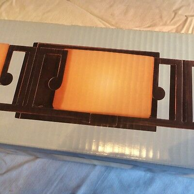 Hampton Bay Transitional Collection 3 Light Vanity Amber Gl Shades 701410 New