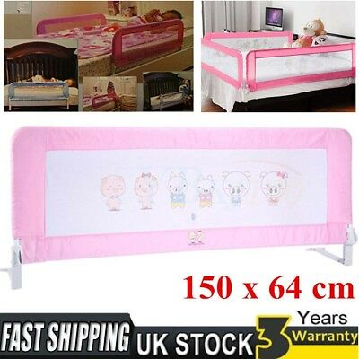 Folded Childrens Baby Long Wide Mesh Bed Rail Toddler Travel Bed Guard Pink 1.5m