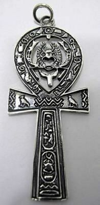 NICE HUGE Ankh Egyptian Egypt Sterling Silver .925 Pendant scarab beetle Jewelry