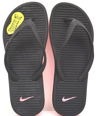 9ff03bf0c15d2 Nike Solarsoft Thong II Youth Black   Pink US Size 2Y - FREE SHIPPING BRAND  NEW
