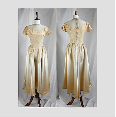 50's Vintage Tea Length Ivory Satin and Lace Wedding Gown, Illusion Neck, EUC