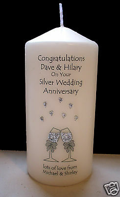 personalised silver 25th wedding anniversary gift for couple, mum & dad etc